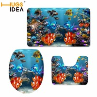 HUGSIDEA Ocean World Fish Pattern 3pc Bathroom Set Toilet Seat Cover U shaped Rug Coral Flannel Bath Accessories Big Carpet