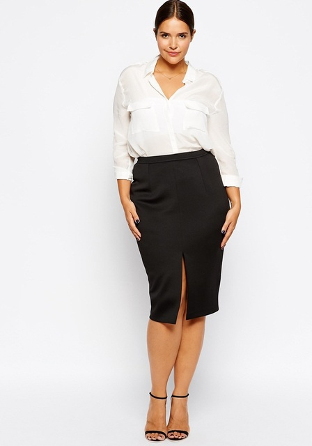 ecf31bbcdc0f New fashions plus size pencil skirt black midi office work skirt woman with  spilt front for summer club skirt