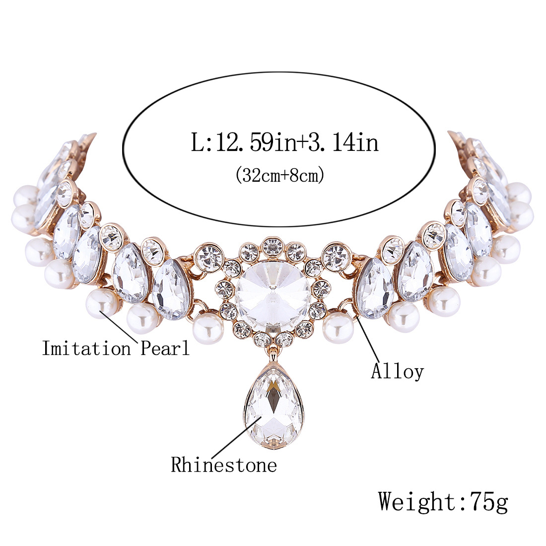 Jewdy Boho Collar Choker Water Drop Crystal Rhinestone pendant Necklace for women Vintage Simulated Pearl Statement Maxi Jewelry 2