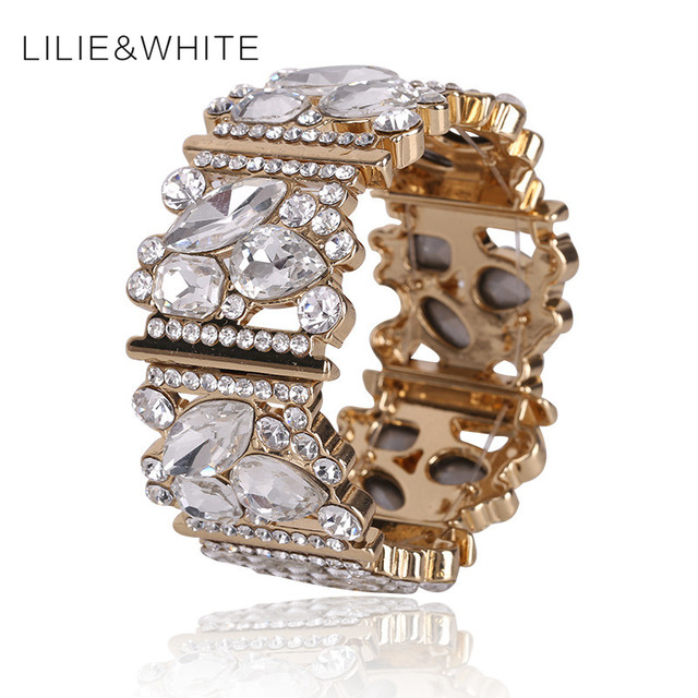 Brand New Women  Stretch Bracelets & Bangles Adjustable Glass Strand Retro Marcasite Bracelet Bijoux Femme Bracelet for Women