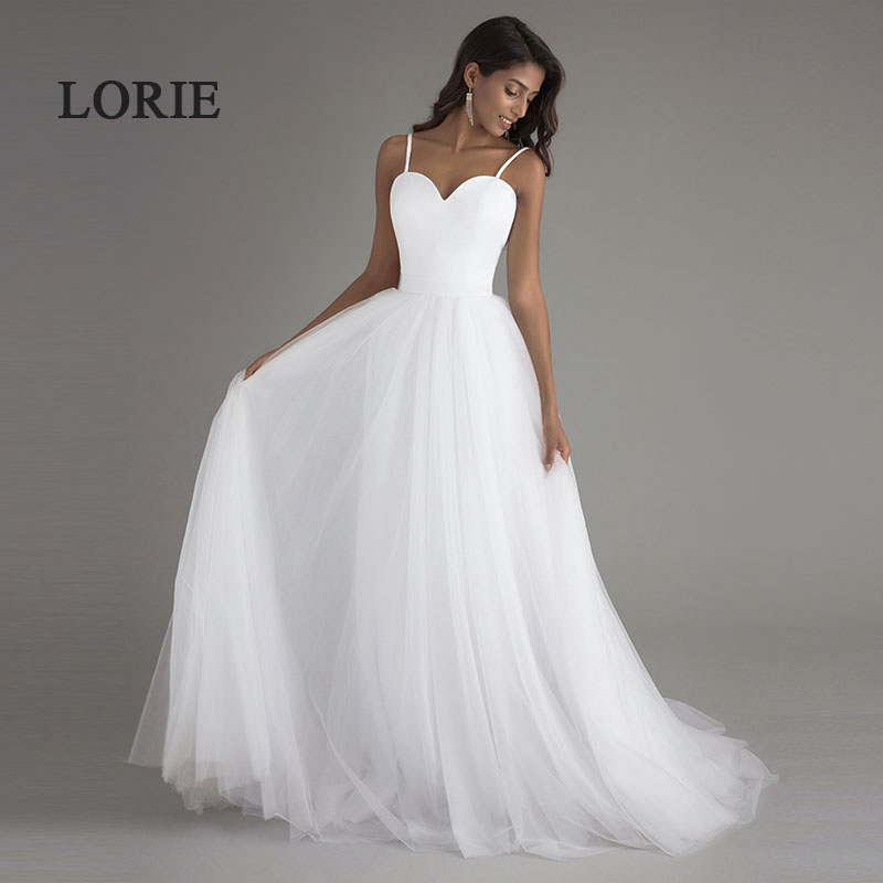 Lorie vestido noiva praia simple white tulle casamento for Plain wedding dresses with straps
