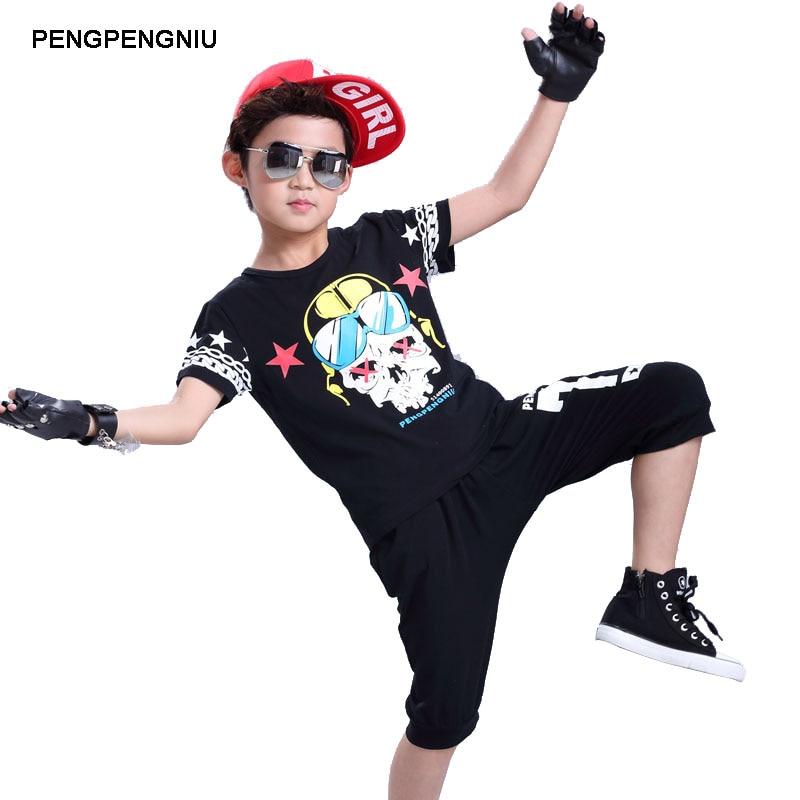 PENGPENGNIU Boys Hip Hop Clothes Sets Girls Skull Clothing Kids Two Piece Set Harem Capri Pants Set for Summer Age 5 to 18 Years