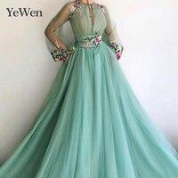 Зеленые вечерние платья для торжественных вечеринок Vestido Largo Fiesta Noche Elegante кружевное платье с аппликацией для особых случаев вечернее платье