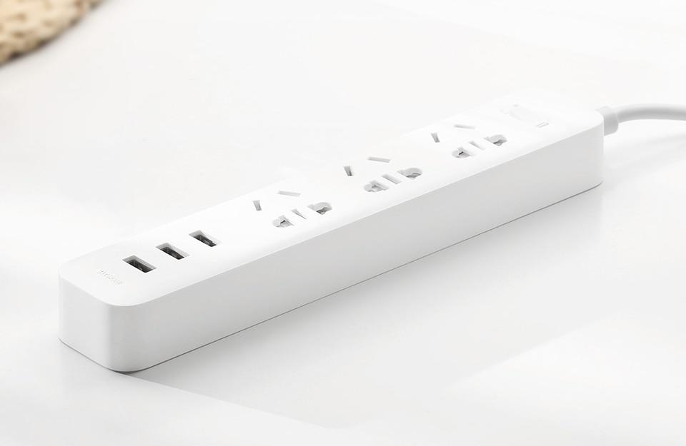 Original Xiaomi Mijia Smart Power Strip 3 2A Fast Charging USB Ports + 3 Sockets Xiaomi Xiaom MI Smart Home Black With Adapter (1)