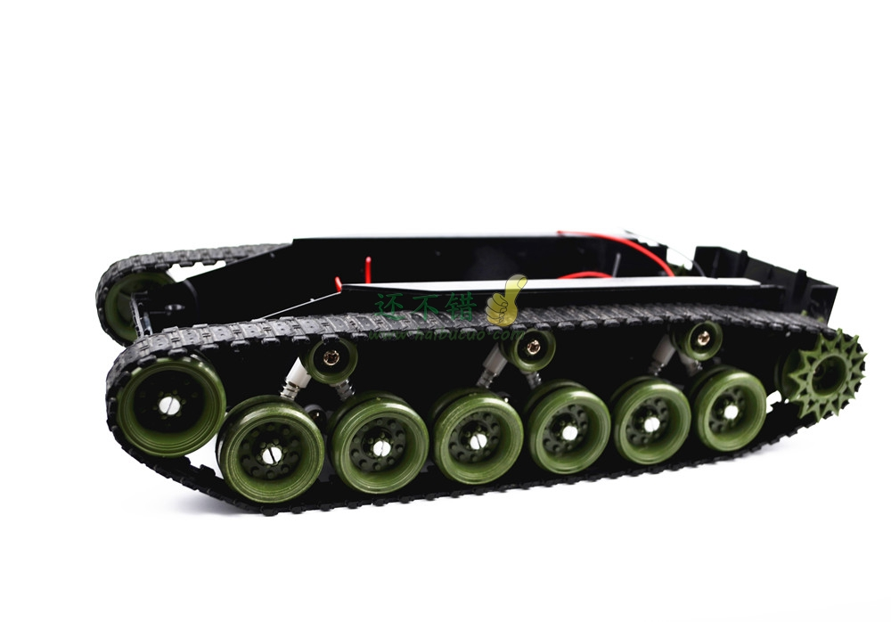 ФОТО DIY 85 Light shock absorption Plastic Tank Chassis with Rubber Crawler belt Tracked Vehicle Big Size