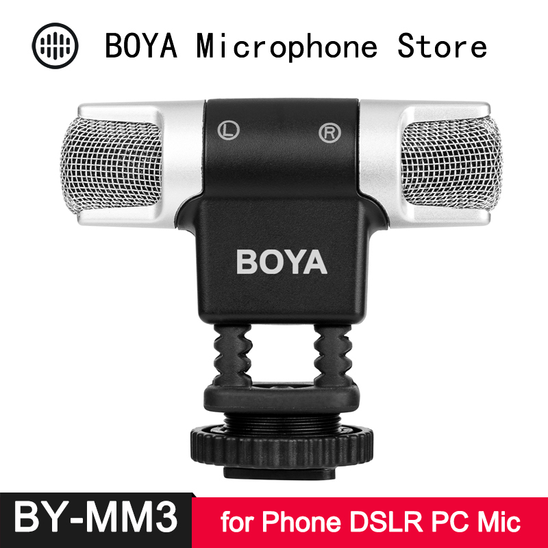 BOYA BY-MM3 Stereo Condenser Microphone For IPhone Android Smartphone DSLR Camera DV Camcorder PC Laptop Computer Video Mini Mi