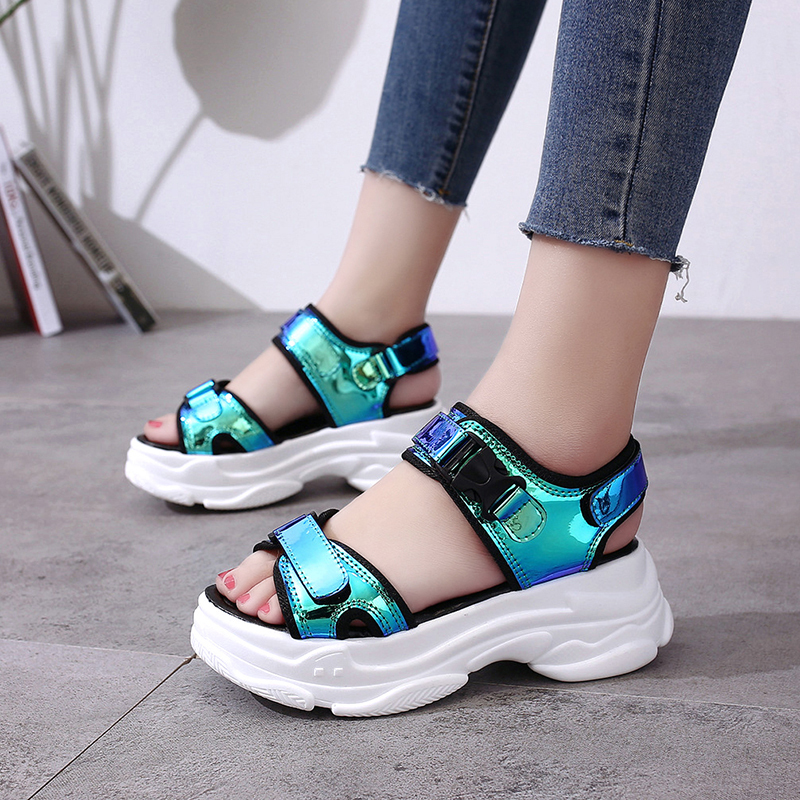 HTB1Zrhlae3tHKVjSZSgq6x4QFXaS Sexy Open toed Women Sport Sandals Wedge Hollow Out Women Sandals Outdoor Cool Platform Shoes Women Beach Summer Shoes 2019 New