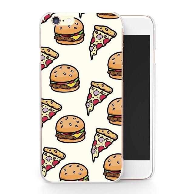 Hamburger et Pizza Motif Coque Capa fondamentale pour IPhone 7 7 Plus 4 4S SE 5