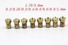 1PC 3D printer 3d  V6&V5 J-Head brass nozzle extruder nozzles 0.2/0.25/0.3/0.4/0.5/0.6/0.8/1.0 mm For 1.75/3.0mm supplies