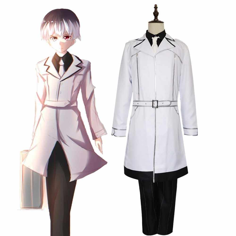 Jp Anime Tokyo Ghoul Re Sasaki Haise Ken Kaneki Cosplay Costume Delle Donne Degli Uomini Set Completo Bianco Festa di Halloween Uniforme Parrucca