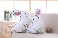 1 CÁI 45 cm lớn màu trắng thỏ đôi-mặt in ấn gối đệm sạch vải nghệ thuật búp bê thỏ cô gái Giáng Sinh món quà sinh nhật