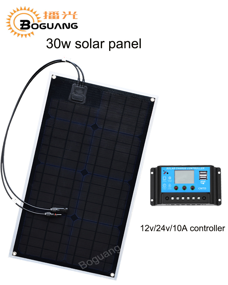 Boguang 30w solar panel ETFE Monocrystalline cell PCB module 10A USB controller 12v battery LED light car RV yacht power charger image
