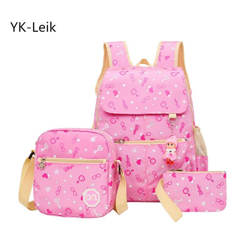 Печати 3 шт./компл. Для женщин рюкзаки легкие модные школьные сумки для девочек водонепроницаемый холст детская ортопедическая школьная сум...
