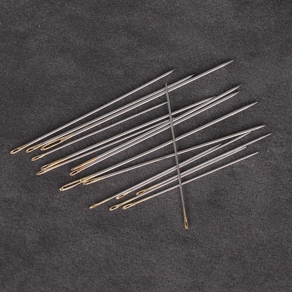 16 pièces grande main aiguilles à coudre en cuir tapis réparation outils or aiguilles à oeil artisanat bricolage broderie accessoires de couture