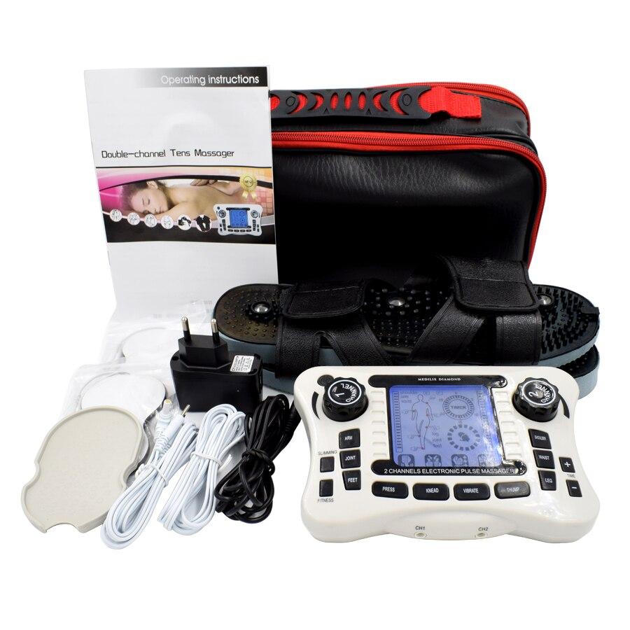 110-240 В десятки Цифровая терапия двухканальный выход EMS боли массажер электрических нервных стимулятор мышц физиотерапия