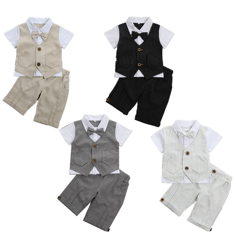 Baby Boys Clothes Summer Short Sleeves Gentleman children clothing 2pcs Set Infant Wedding Birthday Costume Baby Boy Costume summer gorgeous embroidered children ancient chinese costume baby boy girl new year birthday joyous red performing clothes set