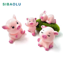 4pcs Cute Pig Family Animal Model figurine home decor miniature fairy garden decoration accessories Statue Resin Craft Figure