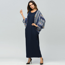 Plus size Middle East Women Abaya Muslim dress Batwing Sleeve Kaftan Islamic arabic Turkish printed patchwork Maxi dresses