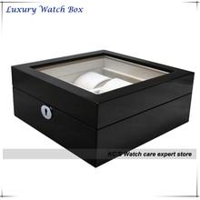 Высокое качество черный фортепиано отделка деревянный 6 часы витрины чехол роскошные часы коробка большой часы подходят прозрачная крышка GC02-LG3-06B.B