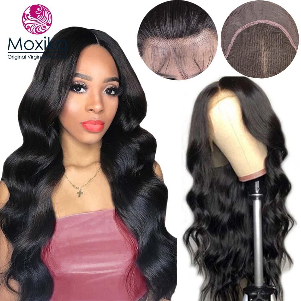Moxika 150% pré plumé dentelle avant perruques de cheveux humains avec des cheveux de bébé Remy brésilien vague de corps court Bob perruques pour les femmes noires