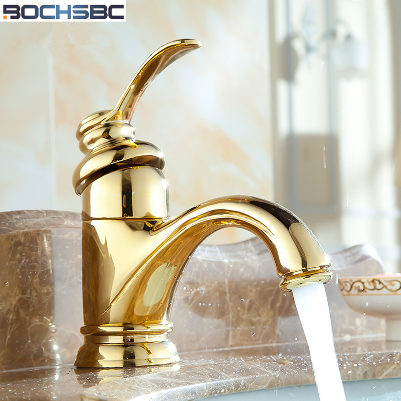 BOCHSBC Luxury Golden Mixer Tap Bath Deck Mounted Mixer Classic Pool ...