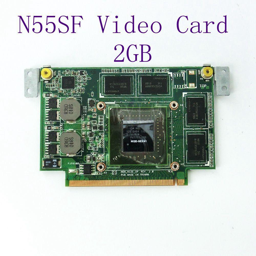 N55SF Graphic Card 2GB For ASUS N75SF N55SF N75SL N55SL GeForce GT 555M N12E-GE2-A1 Laptop Video Card Full Tested Free Shipping n12e ge2 b a1