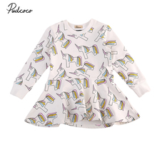 pudcoco Newest Arrivals Hot Infant Newborn Toddler Kids Baby Girls Unicorn Party Princess Long Sleeve Adorable Sweet Dress 1-7Y