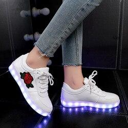 KRIATIV/светящаяся детская обувь; Светящиеся кроссовки для девочек; обувь с подсветкой для мальчиков; Светящиеся кроссовки с цветочным рисунко...