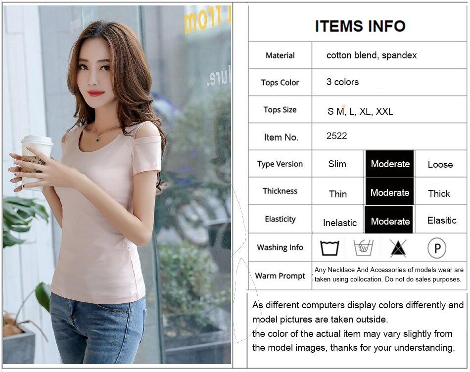 379cd822142 3 Colors Cute Sweet Tops Women Fashion 2018 Summer Short Sleeve Casual T-Shirt  White Black Pink Cotton T Shirt Open Shoulder Top ...