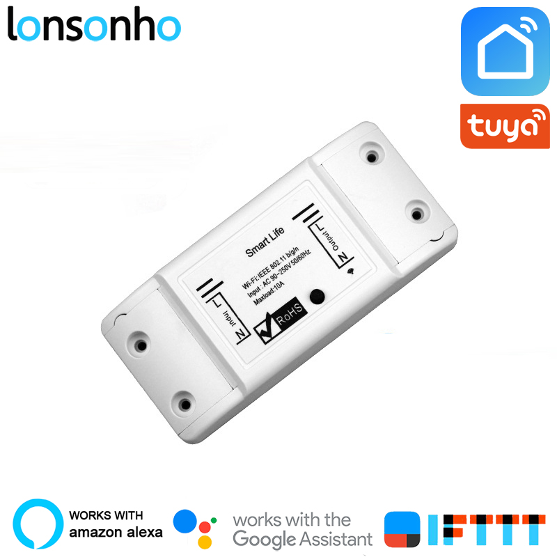 Lonsonho Smart Wifi Switch Relay Tuya Smart Life App Works With Google Home  Mini Alexa IFTTT Smart Home Automation Module