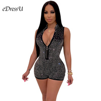 2019 Rhinestone V neck Rompers Sexy Hot Jumpsuits Black Blue Playsuits Glitter Sequins Beadings Women Club Party Wear ME Q234