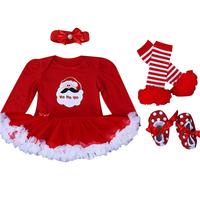 4pcs Christmas Clothing Sets Baby Girl Suits Long Sleeve Romper Headband Shoes Knee Socks Warmer Christmas