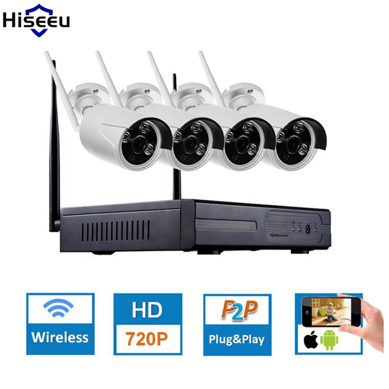 Hiseeu 4CH CCTV System Wireless 960P NVR WIFI IP Bullet Camera Home Security System Surveillance Kit EU Plug home plug and play video surveillance system 8ch wireless nvr hd 960p outdoor wifi network security ip camera cctv system 3t hdd