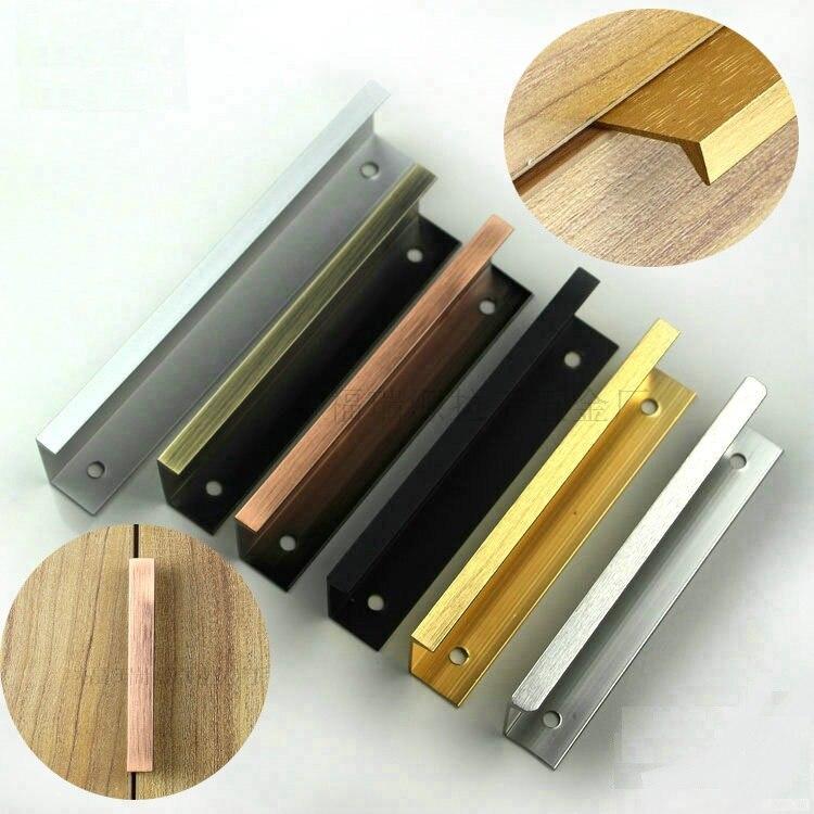 10Pcs/Lot 70mm Long Aluminum Kitchen Cupboard Furniture Handle Pull Door Back Fixing Door Riding G Pulls 6 colors