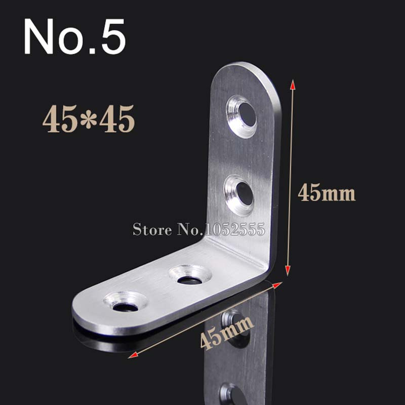 Quality 10pcs stainless steel furniture corner brackets 45*45mm angle plate metal connection parts K92