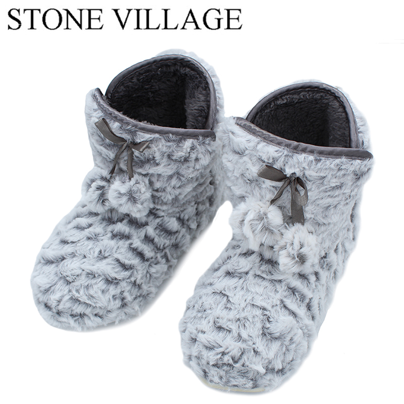 STONE VILLAGE New Arrival 2018 Autumn And Winter Roses Slippers Women'S Slippers Pure Color Home Shoes Lovely Lady Slippers 8-78