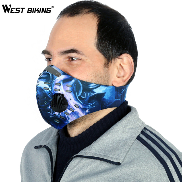 WEST BIKING Cycling Face Mask With Filter Half Face Carbon MTB Bike Training Mask Face Shield Anti Smog Bicicleta Cycling Mask 1