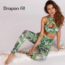 Dragon Fit с принтом листьев спортивный костюм укороченный топ бюстгальтер и спортивные леггинсы комплект из двух предметов бюстгальтер для йоги тренажерного зала леггинсы спортивный костюм брюки для йоги