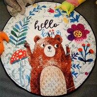 Coffee bear kids room carpet round 150*150cm fox rabbit play mat patchwork picnic blanket anitslip tapetes para casa sala tapis