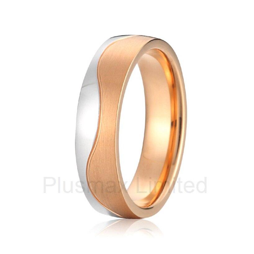Haute qualité anel feminino ouro couleur or rose deux couleurs titane mode anneau engagé bande de mariage pour hommes