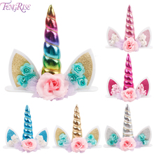 FENGRISE Unicorn Party Supplies Cake Topper Birthday Decor Baby Shower Kids Favors