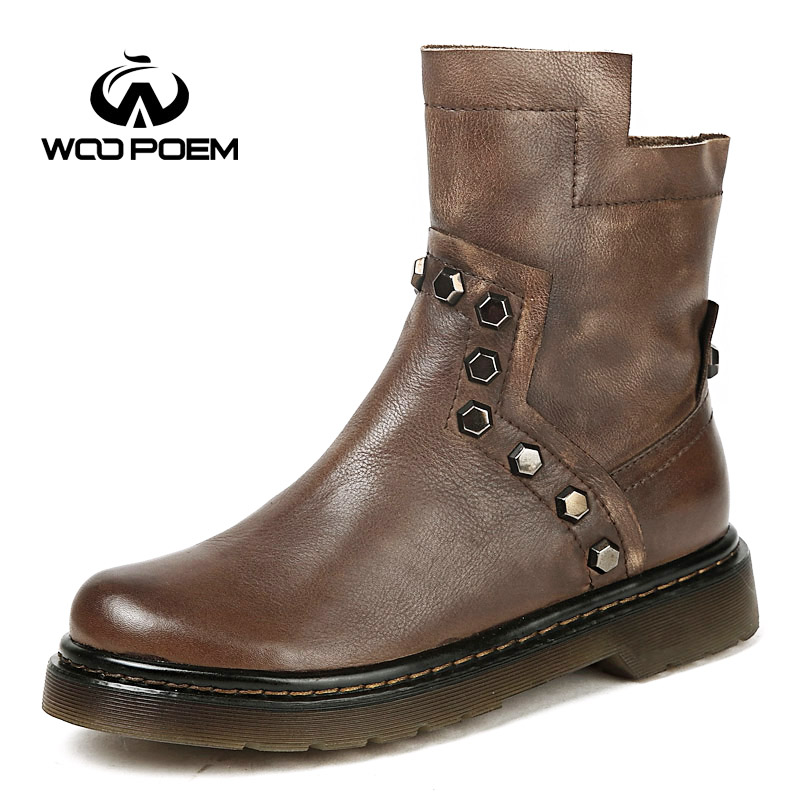 WooPoem Brand Winter Shoes Woman Genuine Leather Boots Low Flat Heel Ankle Boots Rivet Motorcycle Boots Retro Women Boots 510-L1 woopoem brand winter shoes woman genuine leather boots low flat heel ankle boots rivet motorcycle boots retro women boots 510 l1