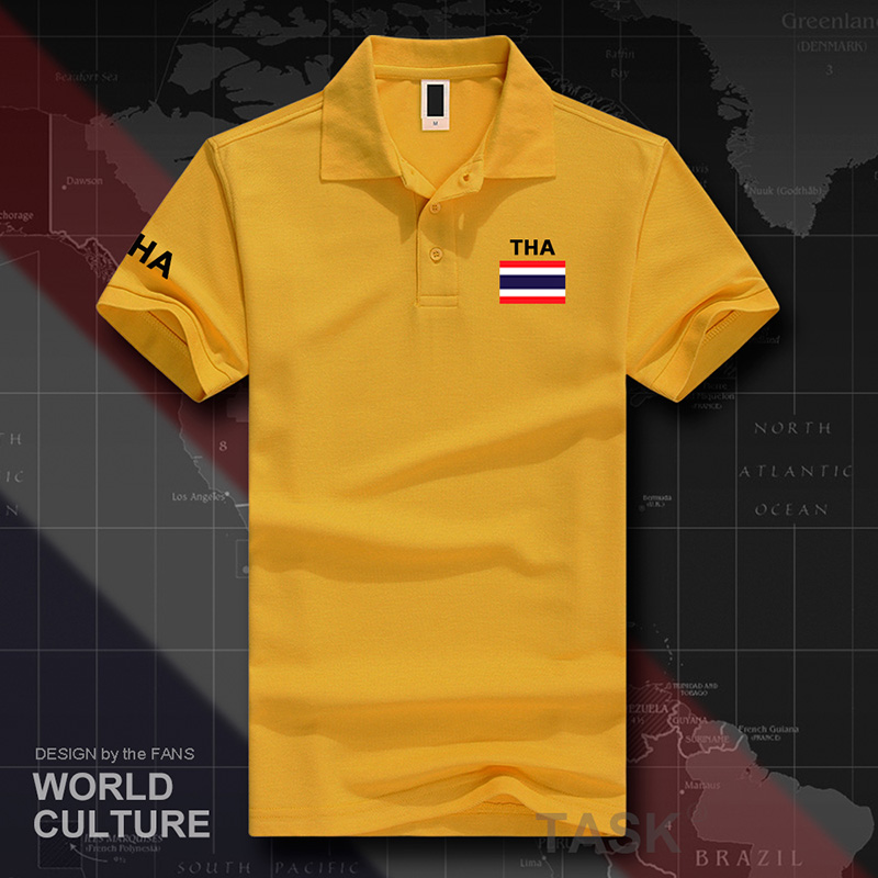 Thailand   polo   shirts men short sleeve white brands printed for country 2017 cotton nation team flag new Thai country flags TH