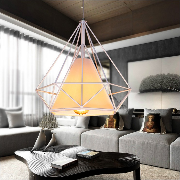 ФОТО Nordic Modern minimalist retro American vintage iron cage chandelier creative restaurant hotel bar cafe single head diamond lamp