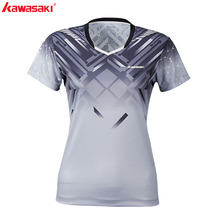 2019 Kawasaki Original Breathable Polyester Badminton T-Shirt Short-sleeved V Neck Shirt Women Table Tennis Femael  ST-S2114