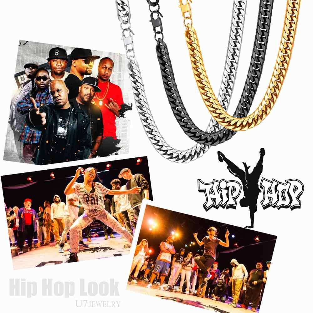 U7 Collane Per Gli Uomini di Miami Cuban Link Catena D'oro Dei Monili di Hip Hop Lunghe Catene di Spessore In Acciaio Inox Big Chunky Collana regalo N453