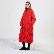 Original Design 2017 rhombus plaid bottom loose plus size long casual women white duck down jacker women winter coat red