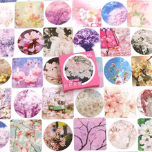 46pcs/box Sakura Flowers Stickers Hand Account Decoration Stickers Diy Diary Planner Decoration Map Scrapbook Stationery