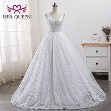 ไข่มุกลูกปัดเย็บปักถักร้อยสีขาวชุดเจ้าสาวอาหรับแต่งงานชุด 2020 ใหม่สวยลูกไม้เจ้าหญิงชุด WX0005