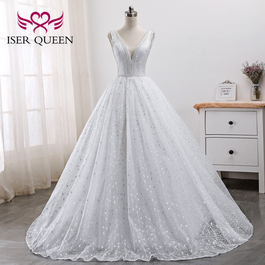 Pearls Beads Embroidery White Bridal Dress Arab Wedding Dresses 2019 New Sleeveless Pretty Lace Princess Wedding Gown WX0005-in Wedding Dresses from Weddings & Events